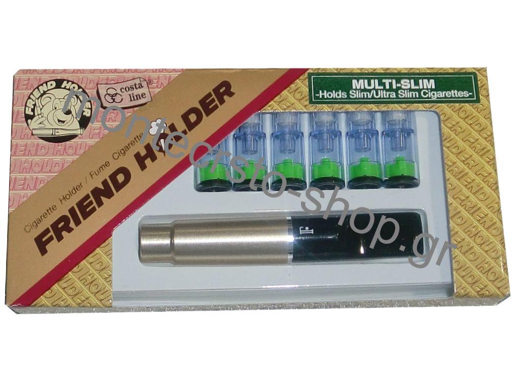 42 - Πίπα για στριφτό τσιγάρο ασημί Friend Holder multi slim 5,3mm 5,5mm και 6mm