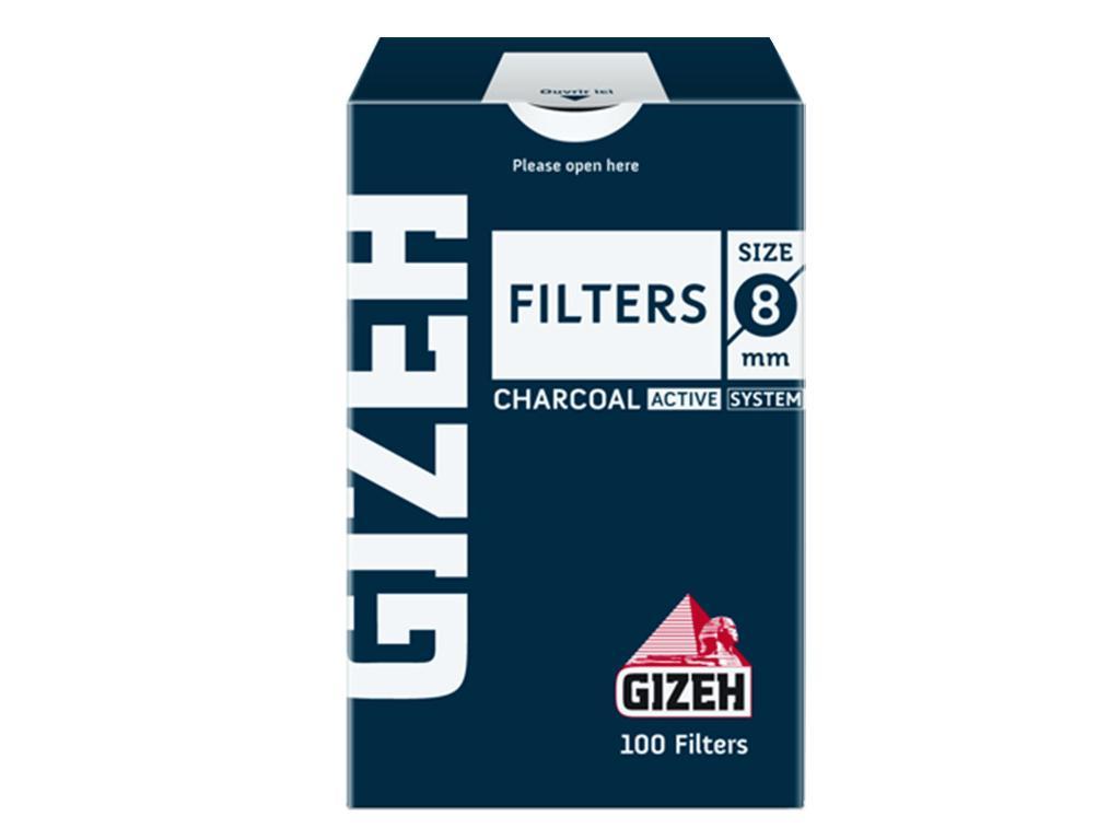 1123 - Φιλτράκια GIZEH ενεργού άνθρακα 8mm 100 τεμ