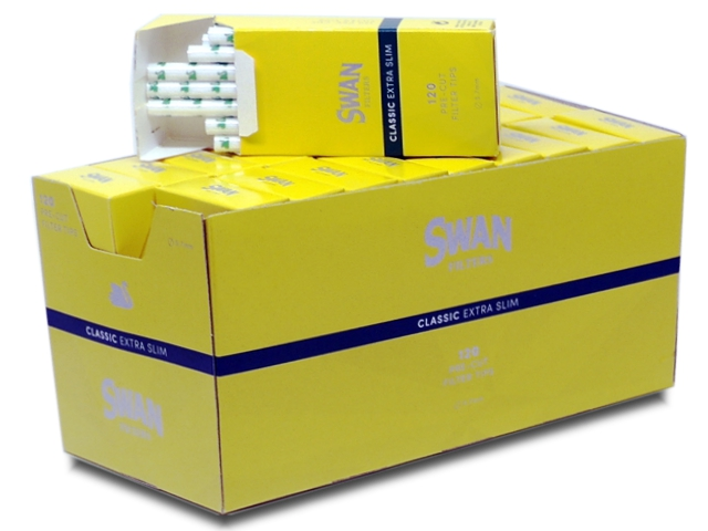 Κουτί με 20 φιλτράκια SWAN Classic extra slim κίτρινα