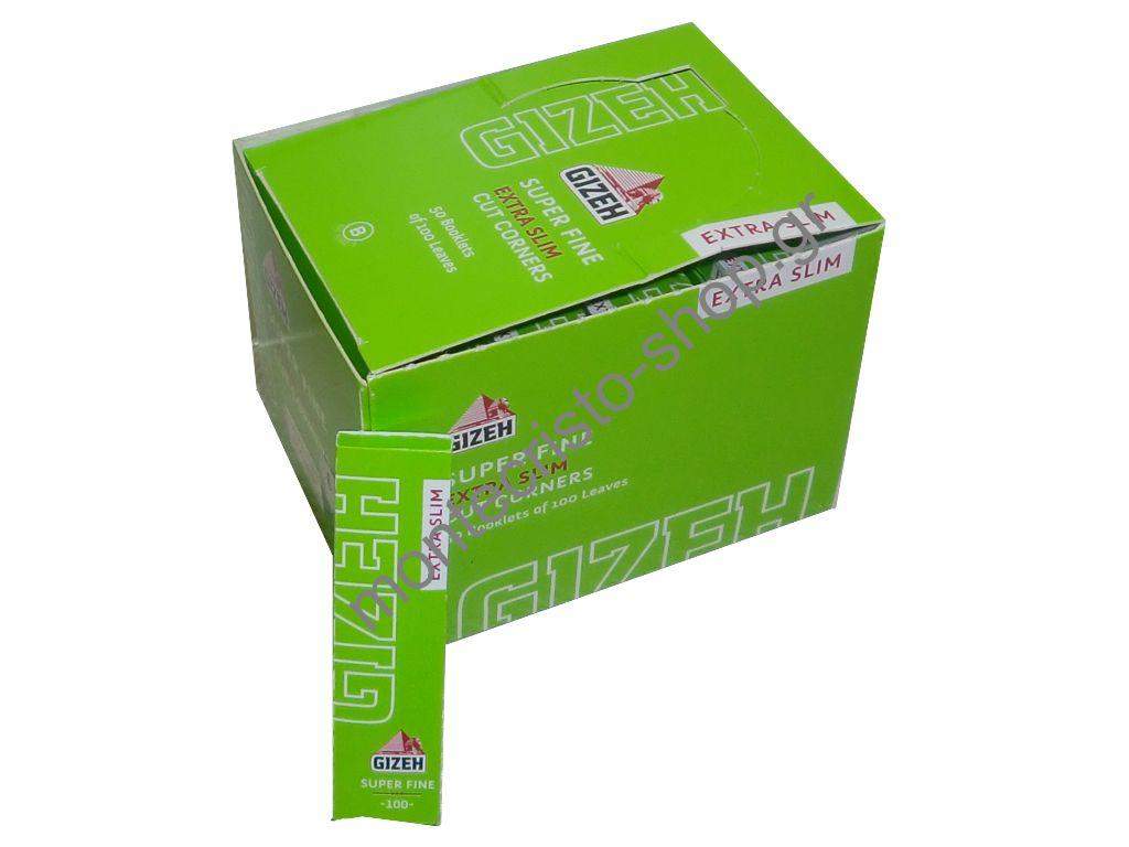 681 - Κουτί με 50 χαρτάκια στενά GIZEH Λαχανί Extra Slim Super Fine ριζόχαρτο 100 φύλλα GIP059