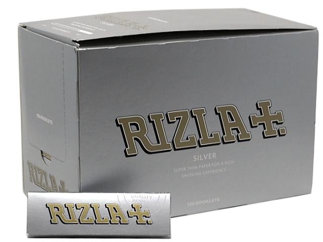 610 - Χαρτάκια Rizla ασημί silver ρυζόχαρτο κουτί των 100 τεμαχίων