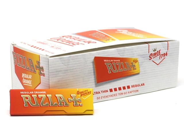 Χαρτάκια Rizla orange πορτοκαλί κουτί των 50 τεμαχίων με 60 φύλλα τιμή (0,23) το χαρτάκι