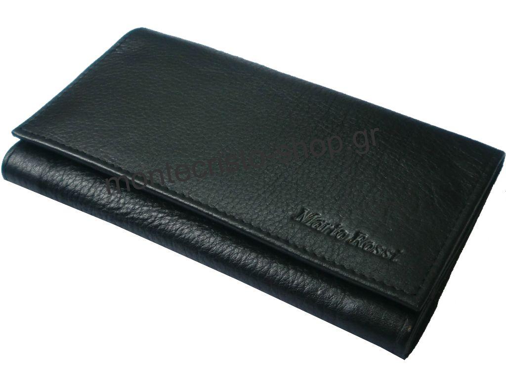 Καπνοσακούλα, γνήσιο δέρμα MARIO ROSSI μαύρη μεγαλη, διπλό άνοιγμα 099-01 ΒΚ