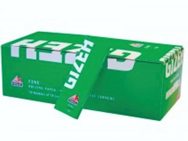 667 - Κουτί με 50 χαρτάκια στριφτού GIZEH Fine Cut Corners πράσινα 50 φύλλα GIP045