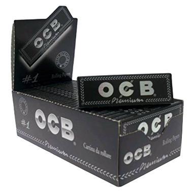 Χαρτάκια OCB Premium Μαύρο λεπτό κουτί 50 τεμαχίων 50 φύλλων