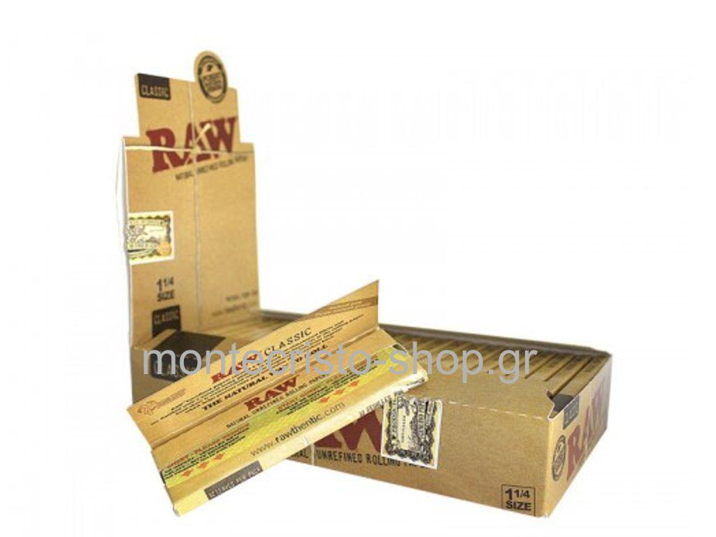 Χαρτάκια 1 και 1 τέταρτο RAW Clasic μεσαίο ακατέργαστο κουτί 24 τεμαχίων 50 φύλλων