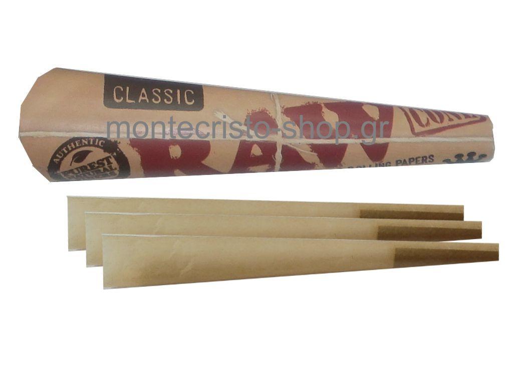 Raw Cone King Size Supreme Classic, 3 κώνοι σε κάθε συσκευασία.