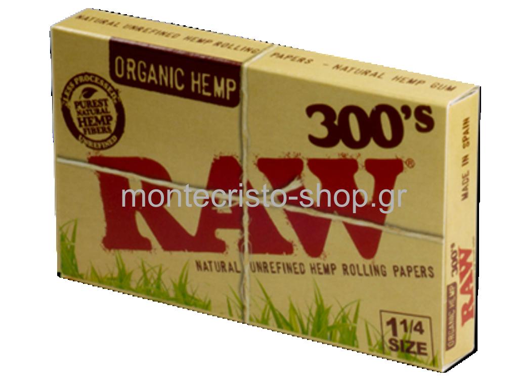 Χαρτάκι RAW 300 ORGANIC HEMP 1 και 1 τέταρτο 300 φύλλα
