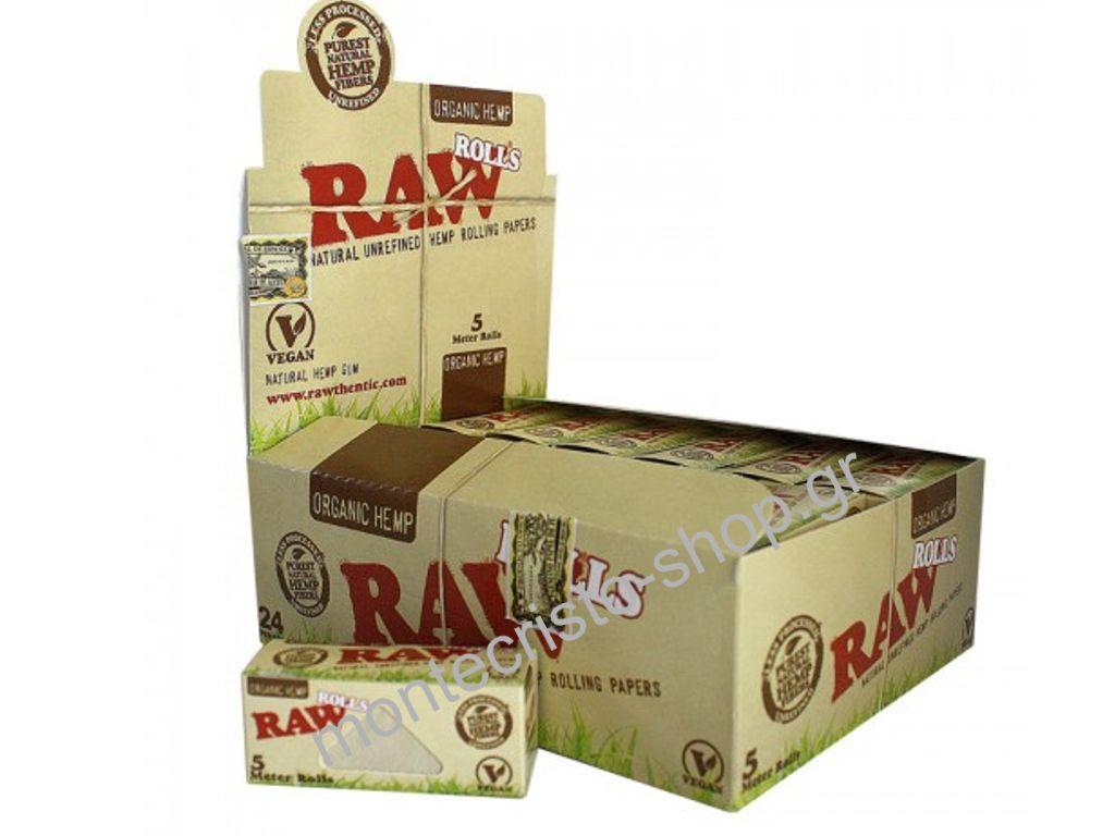 744 - Ρολλά RAW ROLLS ORGANIC HEMP, κουτί 24 τεμ, €1,13 το ρολλό 5 μέτρα