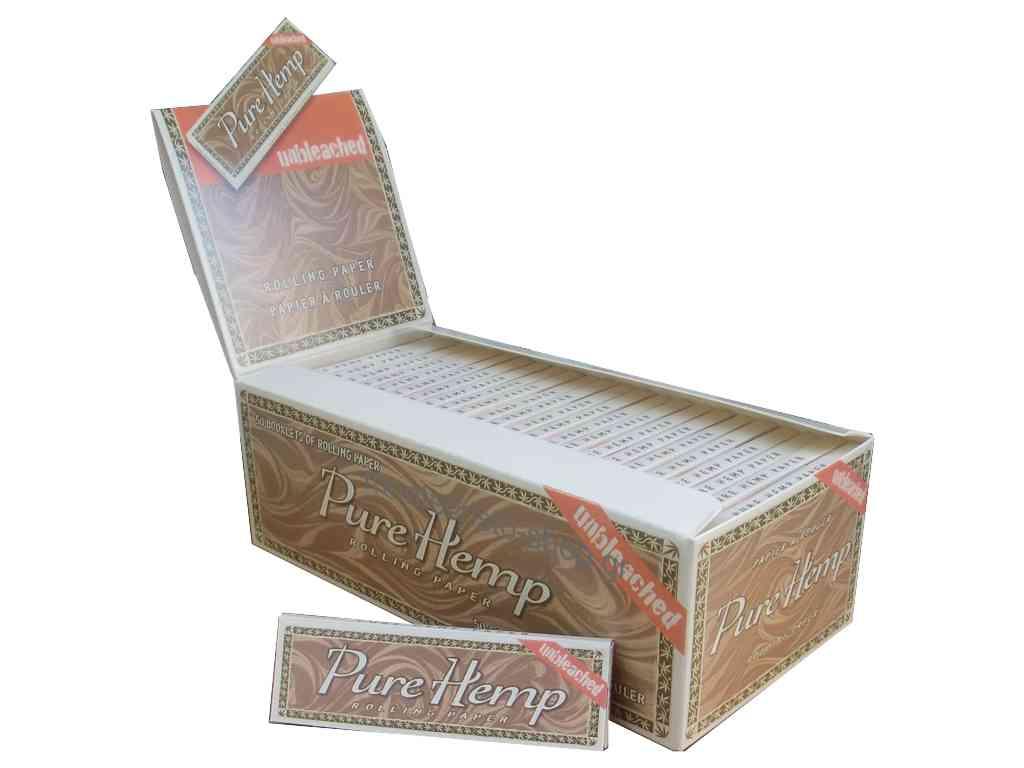 Χαρτάκια Pure Hemp μικρό Unbleached ακατέργαστο, κουτί με 50 τσιγαρόχαρτα