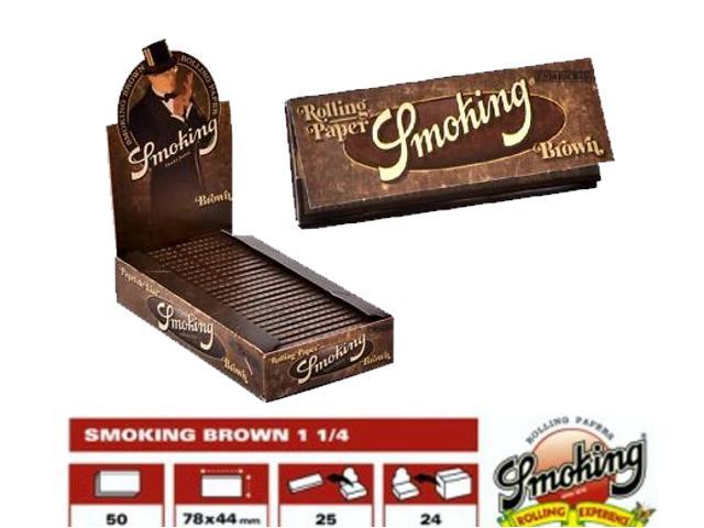 Χαρτάκια Smoking Brown μεσαίο 1 1/4 κουτί 25τεμ ακατέργαστο 50φύλλα