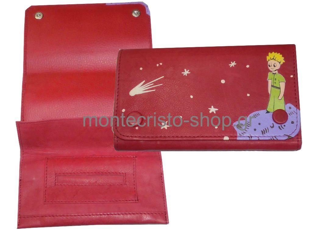 928 - Καπνοθήκη Μικρός Πρίγκιπας κόκκινη από γνήσιο δέρμα μεσαίο μέγεθος