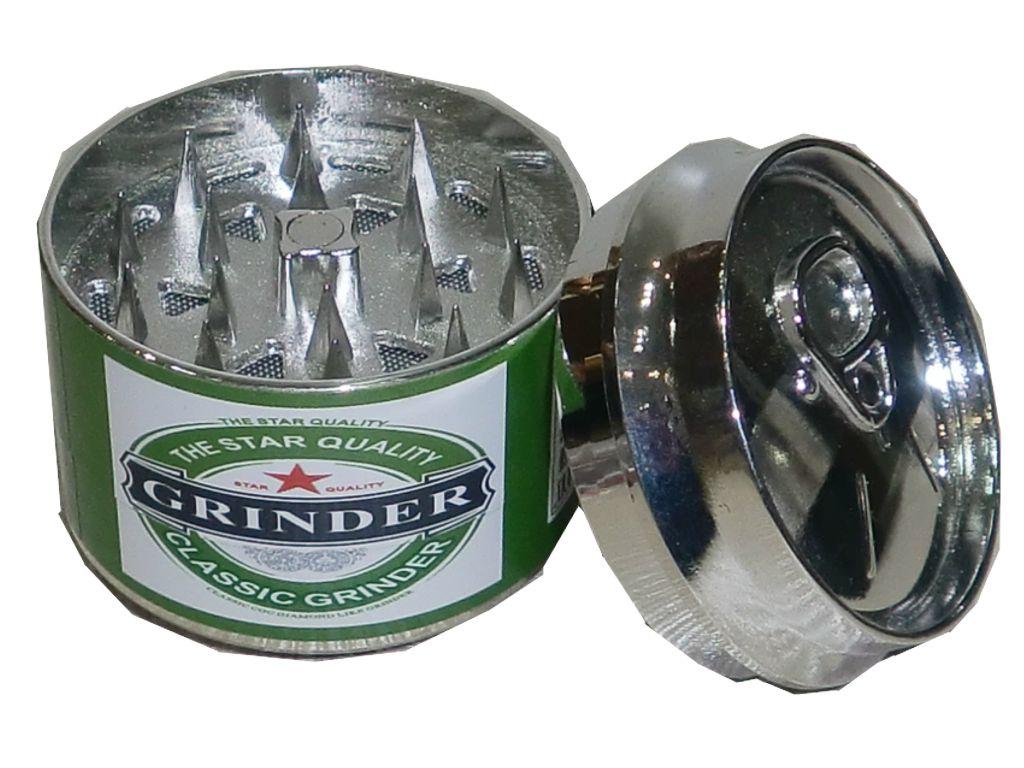 """Τρίφτης για καπνό """"κουτί μπύρας"""" τριπλός 48mm σε 3 χρώματα"""