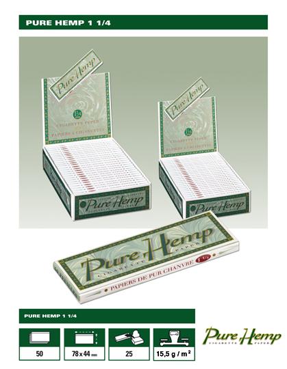 Χαρτάκια Pure Hemp 1 και 1/4, κουτί 25 τεμάχια 50 φύλλα