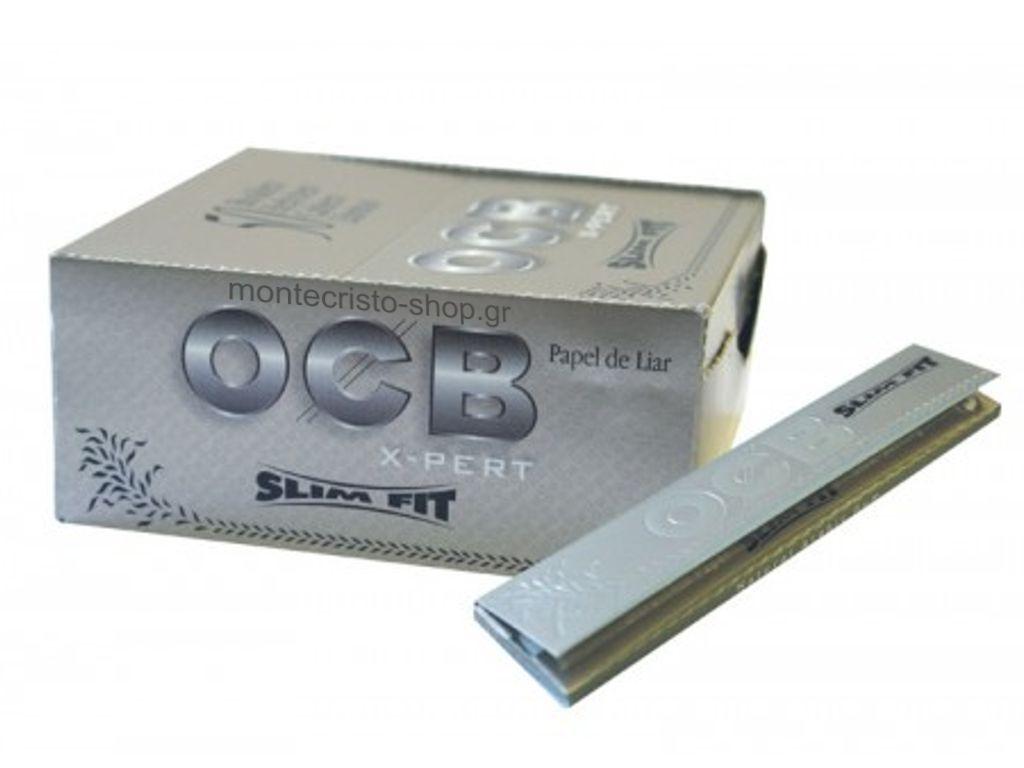 1320 - Κουτί 50 τεμαχίων χαρτάκια στριφτού Rolling paper OCB XPERT SLIM FIT King Size ασημί
