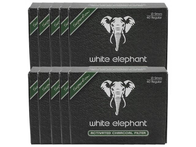 Σετ με 10 φίλτρα Πίπας White Elephant active kohle 40 ενεργού άνθρακα 9mm