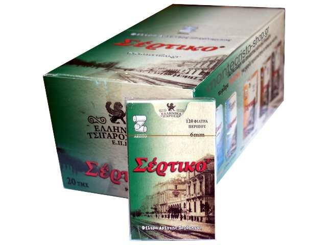 20 Φιλτράκια Σέρτικο Λεπτό 6mm Slim Πράσινο με 120 τεμάχια και τιμή 0,47 το ένα
