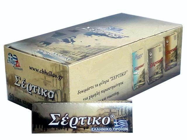 Κουτί με 50 χαρτάκια Σέρτικο γκρι, εξαιρετικά λεπτό, χωρίς χλώριο, φύλλα 50