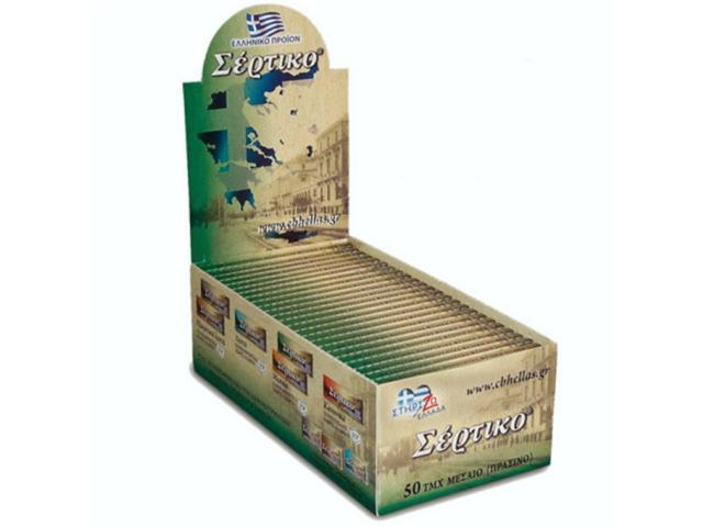 Κουτί με 50 χαρτάκια Σέρτικο πράσινο, μεσαίο πάχος φύλλα 50