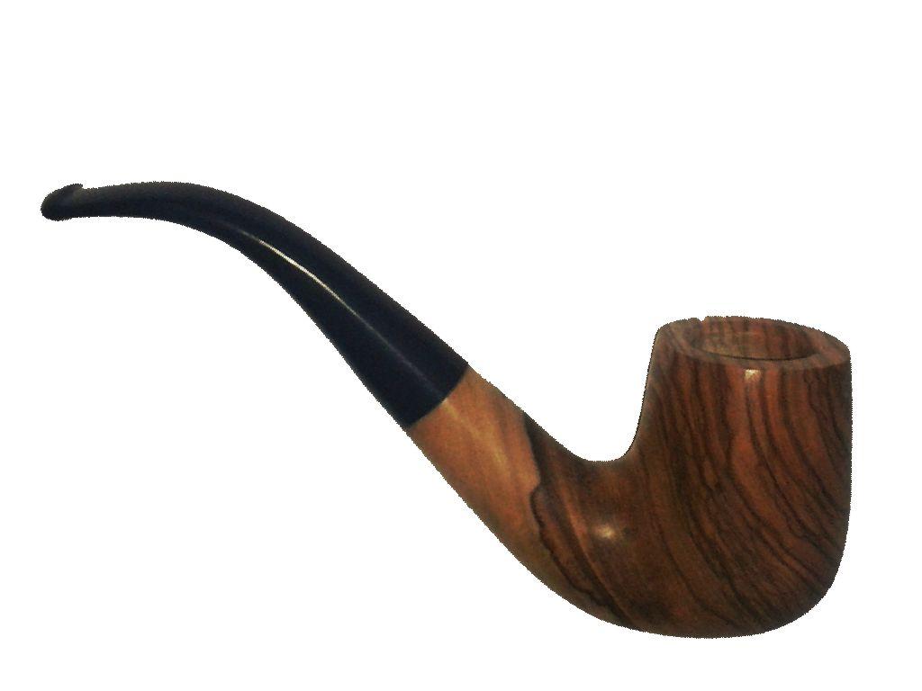 1712 - Πίπα DE LUXE OLIVO ΚΥΡΤΗ 16 από ξύλο ελιάς με λείο επιστόμιο 9mm
