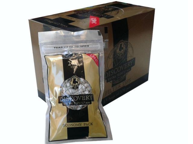 Κουτί με 15 σακουλάκια φιλτράκια DISCOVERY extra slim 5,7 mm economy pack των 270 tips