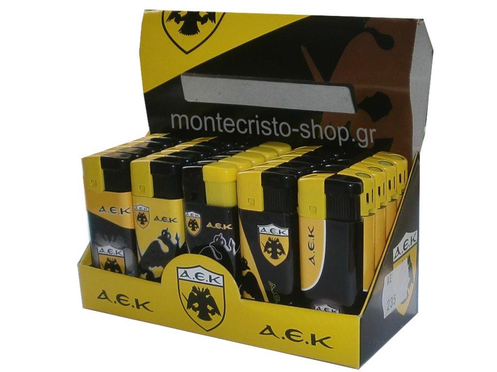 1767 - Κουτί με 25 αναπτήρες AEK πλαστικός μικρός με τιμή 0.38 ο ένας
