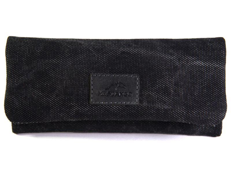 1770 - Καπνοσακούλα MESTANGO με jean μαύρο καραβόπανο και γνήσιο δέρμα 1001-1