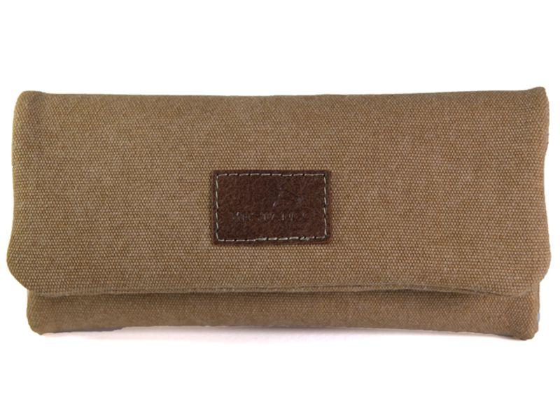 1771 - Καπνοσακούλα MESTANGO με ανοιχτό καφέ jean καραβόπανο και γνήσιο δέρμα 1001-3