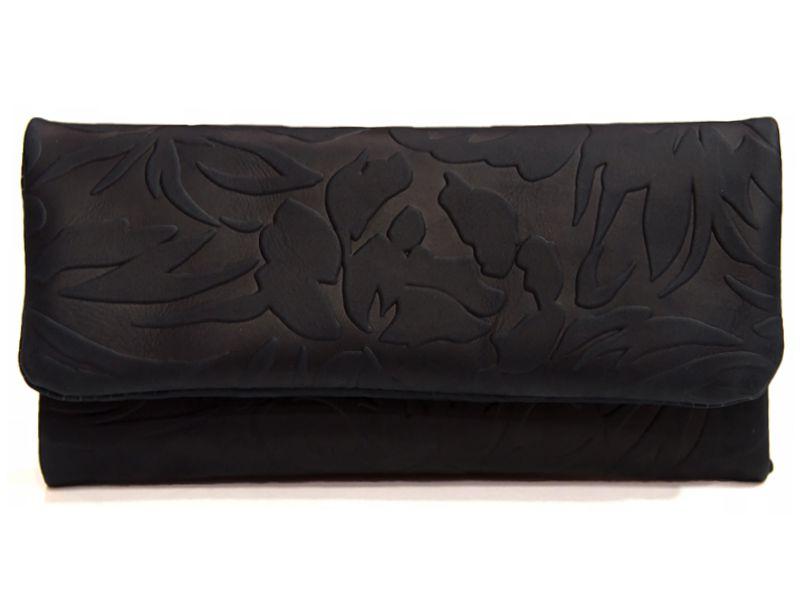 1776 - Καπνοσακούλα MESTANGO ανάγλυφη μαύρη με γνήσιο δέρμα #2006-1