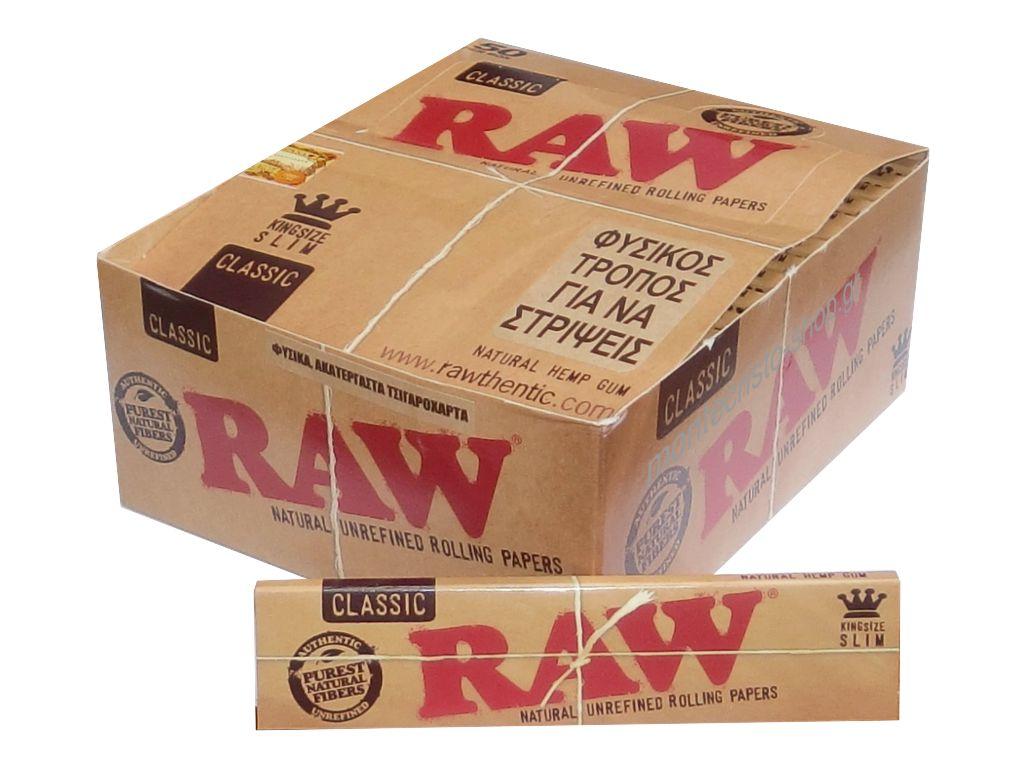 Κουτί με 50 χαρτάκια RAW King Size SLIM Classic ακατέργαστο 32 φύλλα