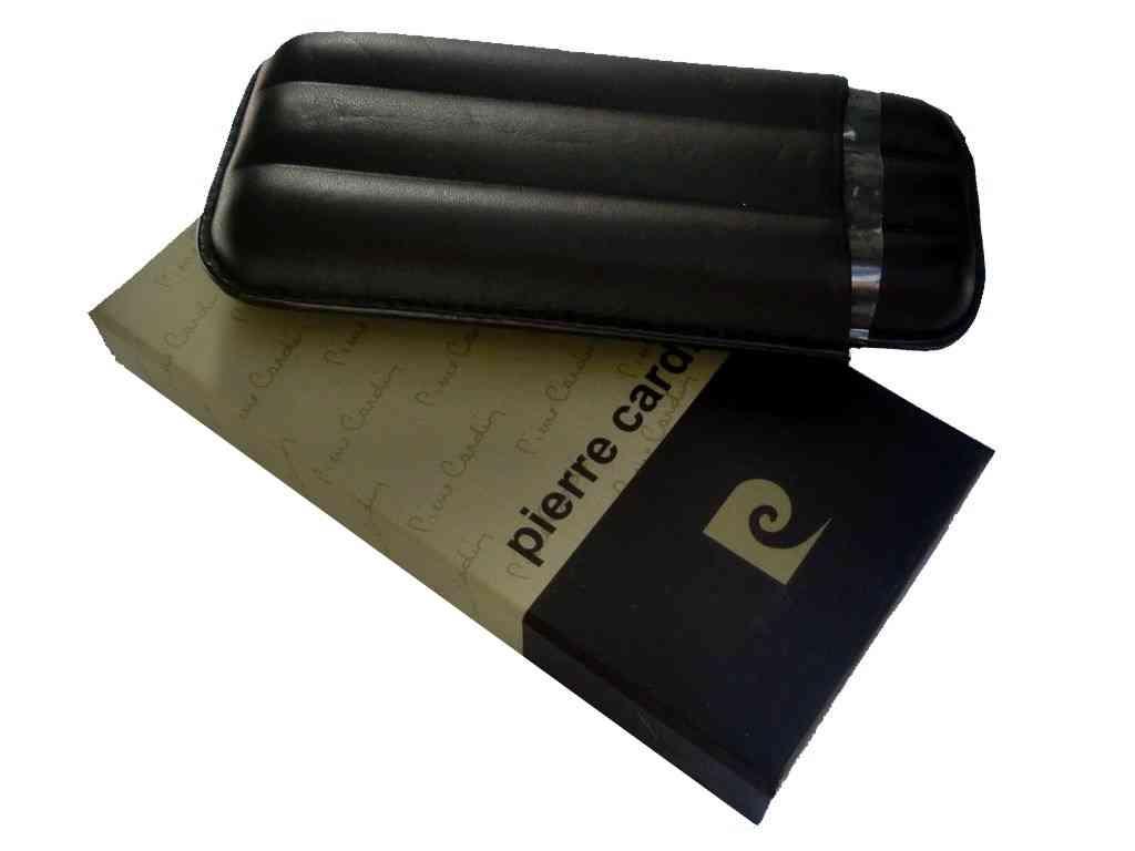 1793 - Πουροθήκη για τρία πούρα pierre cardin μαύρη δερμάτινη 41402-100