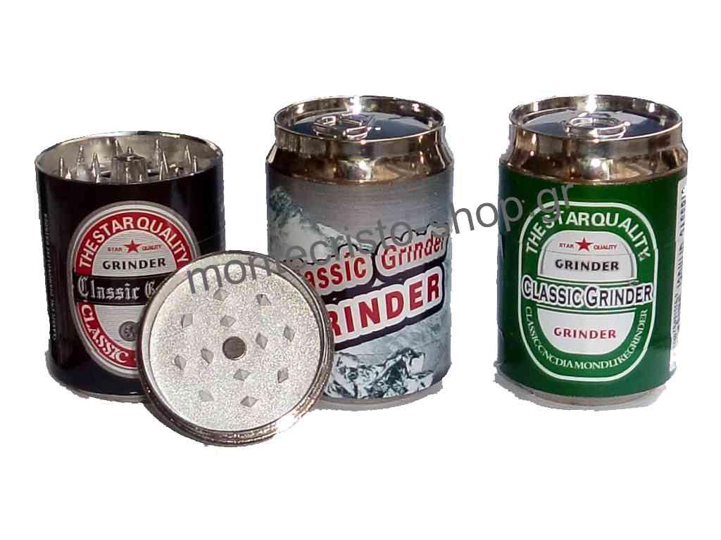 Τρίφτης Pop Can Grinder 48mm τριπλό κουτάκι μπύρας σε 3 σχέδια