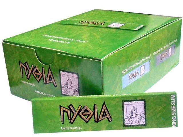 1957 - Κουτί με 60 χαρτάκια ΠΥΘΙΑ πράσινα King Size με 32 φύλλα και τιμή 0.33 το χαρτάκι