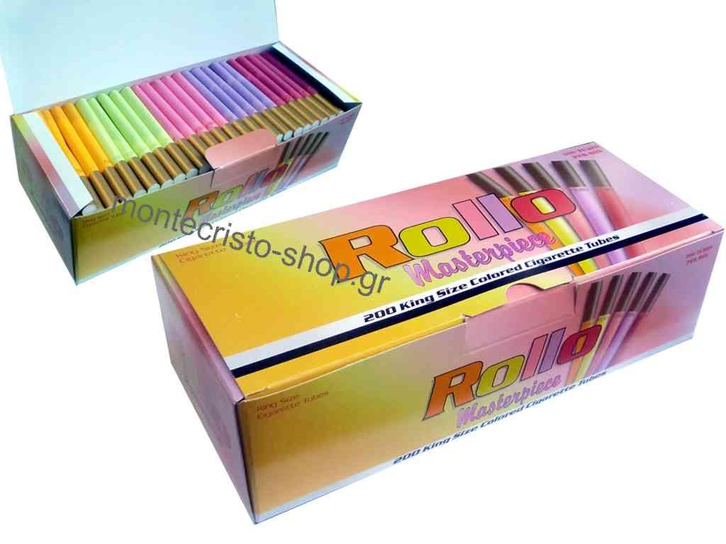 Άδεια τσιγάρα Rollo Masterpiece σε διάφορα χρώματα με χρυσή γόπα 200 καπνοσωλήνες