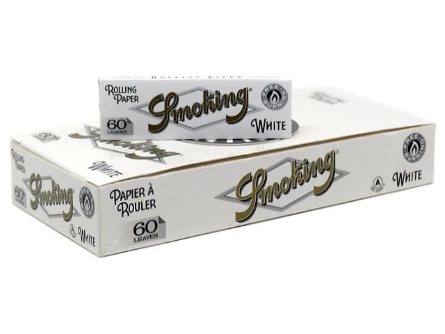 Κουτί με 50 χαρτάκια στριφτού SMOKING WHITE 60 φύλλα (με τιμή 0,20 το τσιγαρόχαρτο)