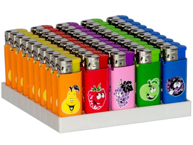 2155 - ����� �� 50 ��������� Atomic Electronic Lighter Midi Softflame Refillable Fruits ������������ (���� 0,27 � ����)
