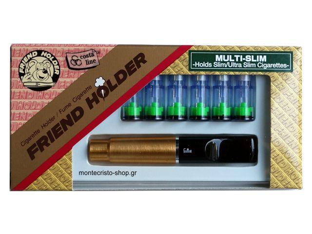 2197 - Πίπα για στριφτό τσιγάρο χρυσή Friend Holder multi slim 5,3mm 5,5mm και 6mm