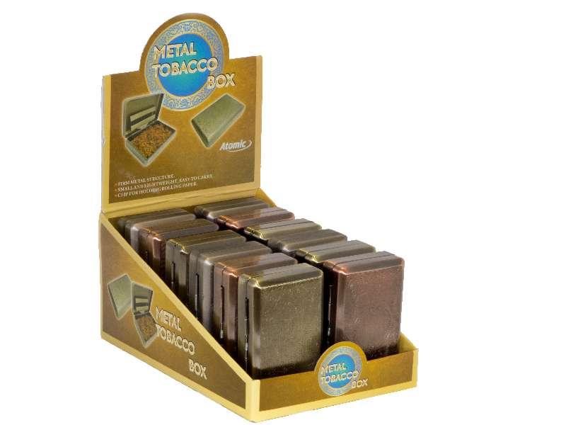 2367 - Κουτί με 12 μεταλλικές θήκες για καπνό Atomic tobacco box μπρονζέ μεγάλη (3.3 η μία)