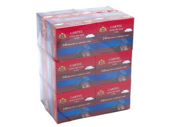 Κουτί με 12 φιλτράκια Cartel Slim 6mm με 240 φίλτρα το κουτάκι και φίλτρο 15mm