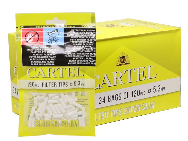 Κουτί με 34 φιλτράκια Cartel Super Slim 5.3mm με 120 φίλτρα το σακουλάκι και φίλτρο 15mm