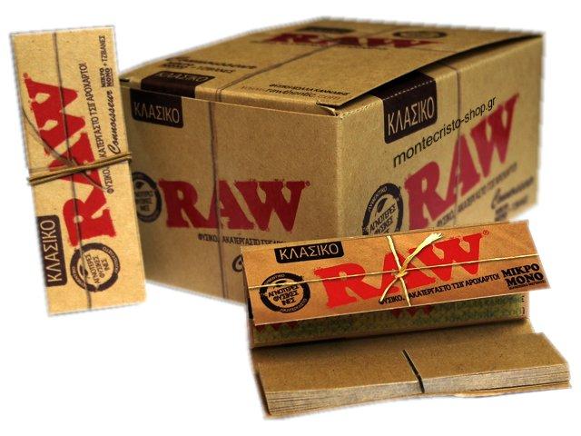 Χαρτάκια στριφτού Raw με τζιβάνες κλασικό ακατέργαστο (κουτί με 24 τεμάχια)