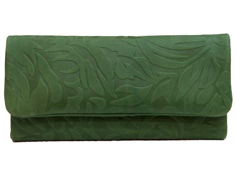 2504 - Καπνοσακούλα MESTANGO ανάγλυφη πράσινη με γνήσιο δέρμα #2006-5