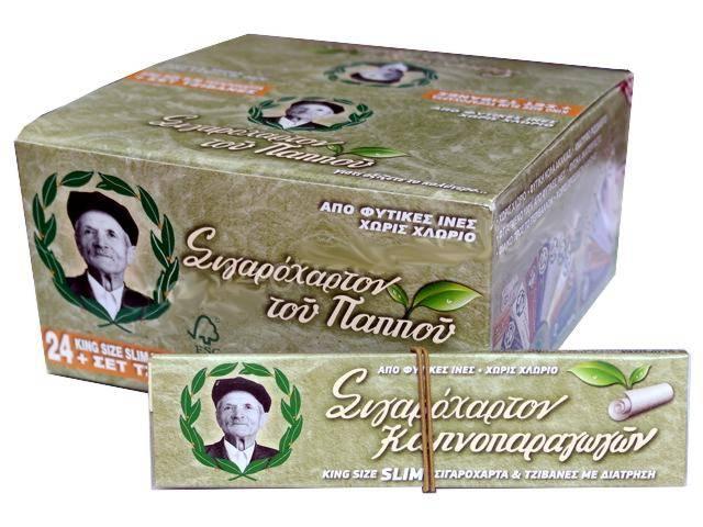 2709 - Κουτί με 24 χαρτάκια του παππού 47583 πράσινα King Size Slim και τζιβάνες