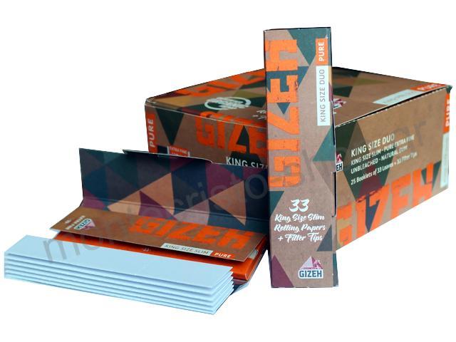 Κουτί με 25 χαρτάκια στριφτού Gizeh King Size SLIM Pure Duo ( οργανική κάνναβη ) με τζιβάνες GIP086