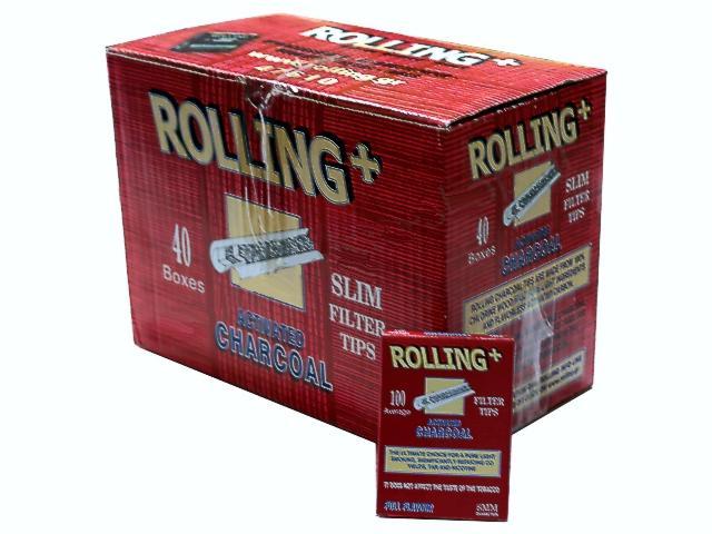 Κουτί με 40 φιλτράκια στριφτού Rolling 47610 ενεργού άνθρακα για κανονικό τσιγάρο 8mm 100 τεμάχια (τιμή 0.58 το ένα)