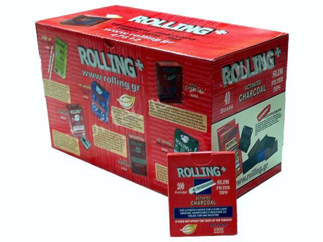 Κουτί με 40 φιλτράκια στριφτού Rolling 47612 Slim ενεργού άνθρακα 6mm 200 τεμάχια (τιμή 1.08 ο ένας)