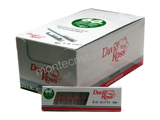 2940 - Κουτί με 36 πιπάκια τσιγάρου David Ross Mini Φίλτρα για κανονικό τσιγάρο 8mm (made in Italy)
