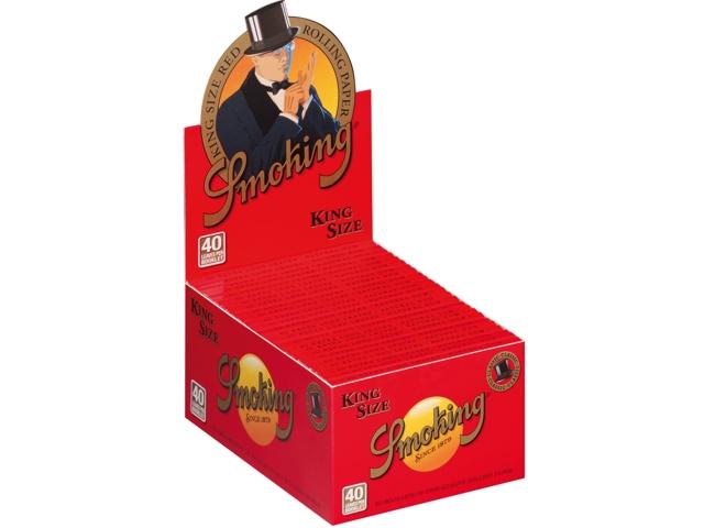 3033 - Κουτί με 50 χαρτάκια στριφτού Smoking Red κόκκινα king size