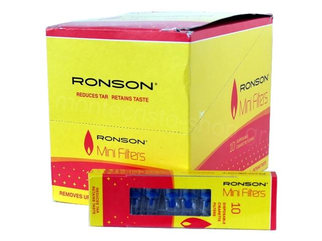 Κουτί με 30 πιπάκια τσιγάρου Ronson Mini Filters για κανονικό τσιγάρο