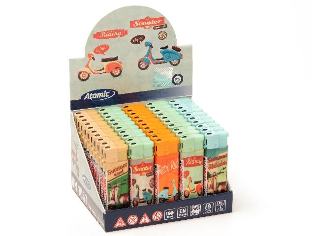 Κουτί με 50 αναπτήρες Atomic Flat Retro Scoo
